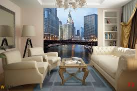 mural panoramic daily view of chicago and river wallpapers mural panoramic daily view of chicago and river
