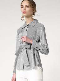 belted blouse fashion striped lapel belted blouse ezpopsy com