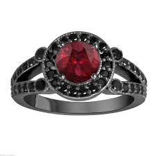black diamond bridal set garnet engagement ring black diamonds bridal ringwedding