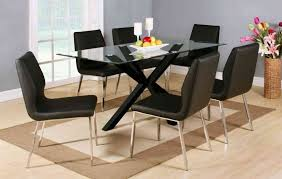 Black Gloss Dining Table And 6 Chairs Clear Glass Black High Gloss Dining Table And 6 Chairs Homegenies
