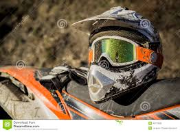 motocross helmets cheap dirty motorcycle motocross helmet with goggles stock photo image