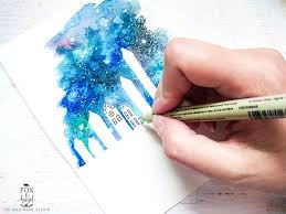 watercolor galaxy cityscape diy inkstruck studio
