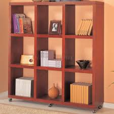 or warm mahogany finish modern bookcase w casters