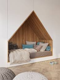 this bedroom design for a teenager features a bed built into a