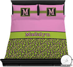 Leopard Print Curtains And Bedding Pink U0026 Lime Green Leopard Duvet Cover Set Personalized Baby N