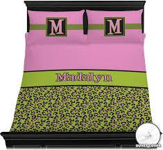 Pink And Black Duvet Set Pink U0026 Lime Green Leopard Duvet Cover Set Personalized Baby N