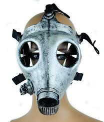 Gas Mask Halloween Costume Claw Spike Antique Silver Color Industrial Gas Mask Silver Color