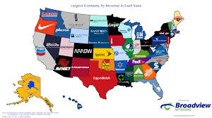 Bank Of America Map by Largest Companies By Revenue In Each State Map Broadview Networks
