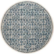 safavieh cambridge navy blue ivory 8 ft x 8 ft round area rug