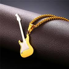 guitar necklace pendants images Rock guitar pendant necklace gold plated stainless steel pendant jpg