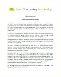 announcement seeking senior communications manager for the open