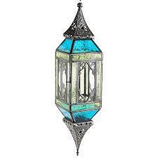 glass hanging lantern blue u0026 green outdoor pier 1