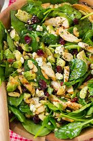 cranberry avocado spinach salad with chicken and orange poppy seed