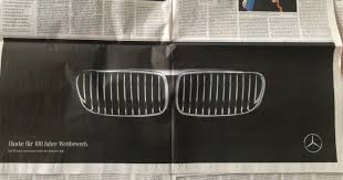 mercedes ads mercedes congratulates bmw on completing 100 years with this cool