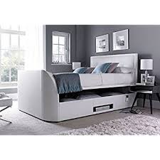 Tv Storage Bed Frame King Size White Leather Ottoman Storage Tv Bed Frame Only