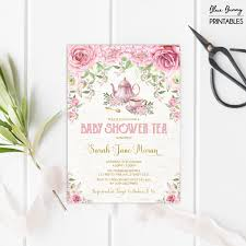 baby shower tea party invitation pink gold floral invite