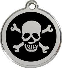dingo enamel tag skull cross bones black 01 xb bb 1xbbs