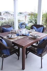 blue and white outdoor table starfish cottage