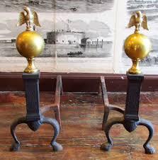 vintage pair of brass u0026 iron andirons eagle on globe