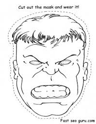 printable superheroes hulk face cut out coloring pages printable