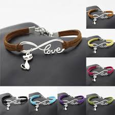 infinity love leather bracelet images Infinity love cat leather bracelet loft owl jpg