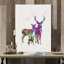 canvas painting for home decoration watercolor elk painting printing canvas wall decor for home