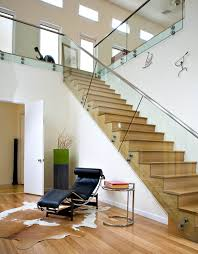 exterior design wooden stairs and glass railing also light wooden