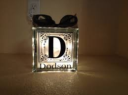 last name monogram glass block light
