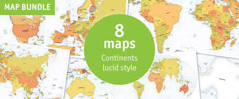 Map Of The World With Continents by Catalog Digital Continent Region Maps One Stop Map
