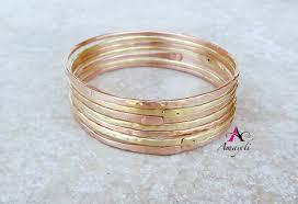 stacking bracelets set of three brass bangle bracelets stacking bracelet charm bra