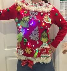 grinch christmas sweater tacky christmas sweater grinch lights up contest whoville xl
