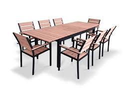 Cheap Patio Dining Set - 9 piece eco wood extendable outdoor patio dining set weathered