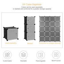 Extra Closet Storage by Portable 16 Enclosed Cubes Extra Wide Modular Storage Clothes