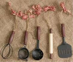 vintage primitive set of 5 country kitchen mini utensils ornaments