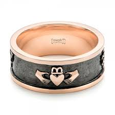 black custom rings images Custom rose gold black antiqued men 39 s band 103134 jpg