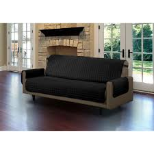 ls that hang over couch black microfiber sofa pet protector slipcover with tucks and strap