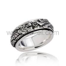 Sterling Silver Engravable Jewelry Custom Engraved Sterling Silver Retro Rotating Dragon Mens Ring