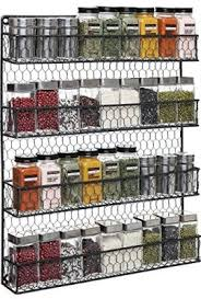 Spice Rack Storage Organizer 4 Tier Country Rustic Chicken Wire Pantry Cabinet Or Wall Mounted