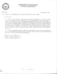 air force recommendation letters