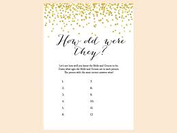 gold confetti bridal shower game set magical printable