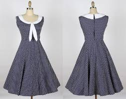 1940s dresses 1940s 50s sailor dress navy blue with white dot sailor 007