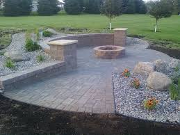 Patio And Firepit by Patio And Firepit With Sitting Wall Rocksolidlandscape Com