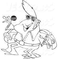 vector of a cartoon elvis impersonator alien singing outlined