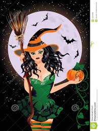 happy halloween night witch with pumpkin stock vector image