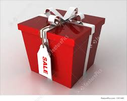 wrapped gift box illustration of gift box with sale tag