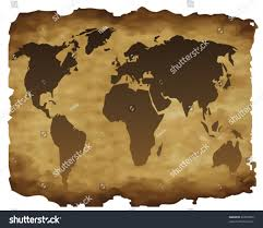 Outline World Map Outline World Map On Old Paper Stock Vector 46824055 Shutterstock