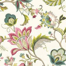 Traditional Upholstery Fabrics Pink And Blue Jacobean Floral Linen Fabric Traditional Drapery