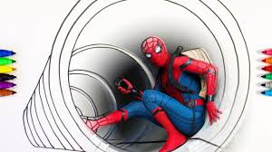 spider man homecoming in the pipe coloring pages for children
