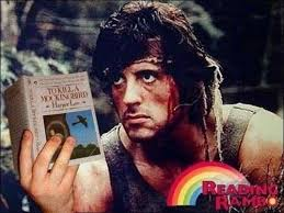 Reading Book Meme - take a look read a book its reading rambo meme guy