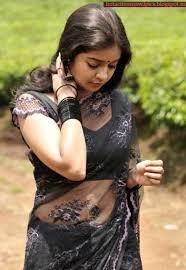 swathi reddy navel in transparent black saree